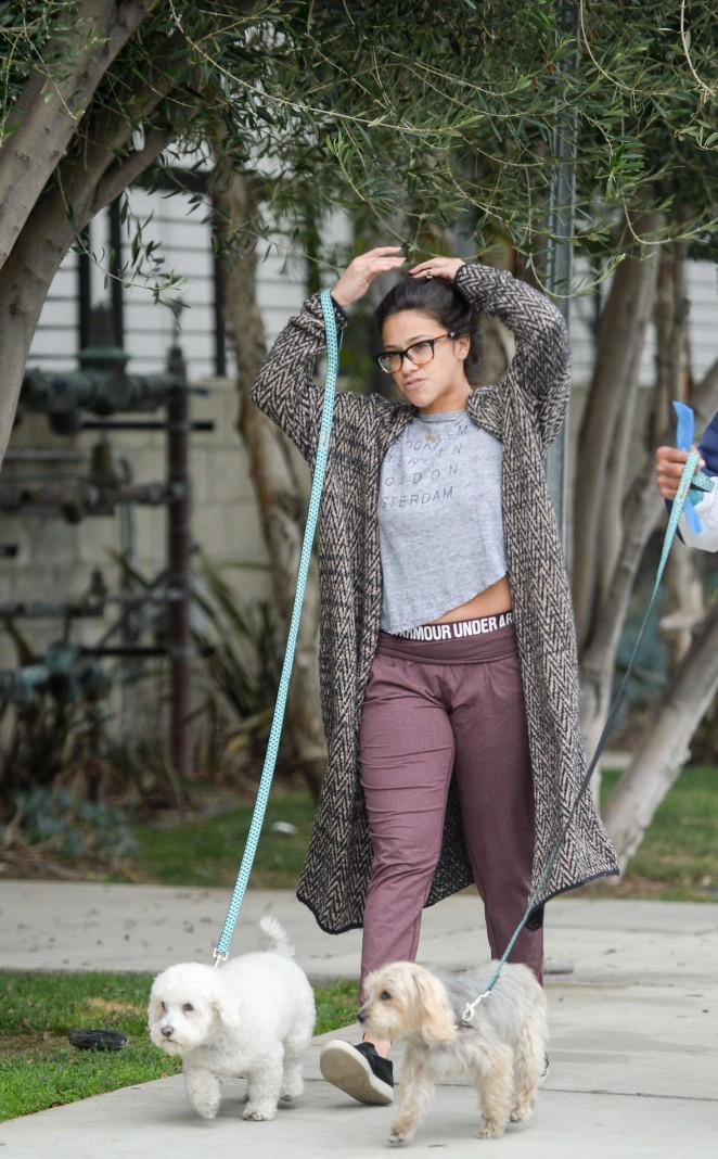Gina Rodriguez – Walking her dog in Venice