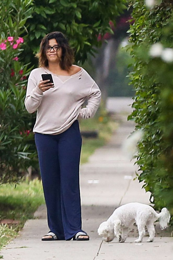 Gina Rodriguez with her dogs in Los Angeles