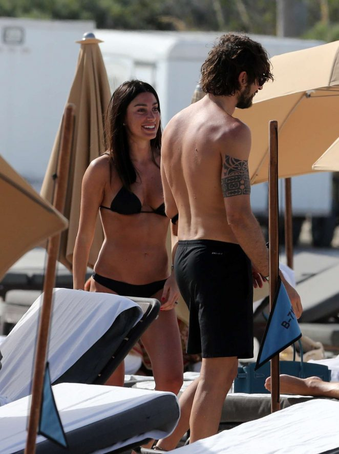 Giorgia Gabriele in Black Bikini on the beach in Miami