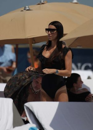 Giorgia Gabriele in Black Swimsuit at the beach in Miami