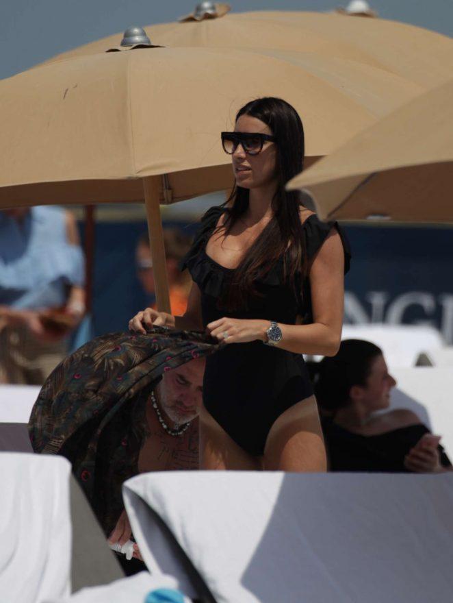 Giorgia Gabriele in Black Swimsuit at the beach in Miami