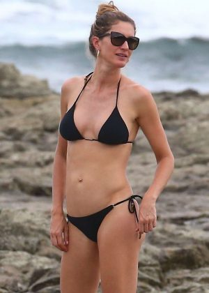 Gisele Bundchen in Black Bikini at the beach in Costa Rica