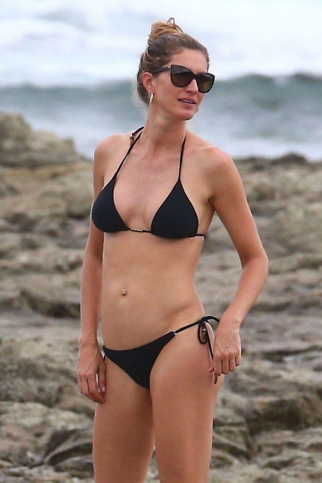 Gisele Bundchen in Black Bikini at the beach in Costa Rica