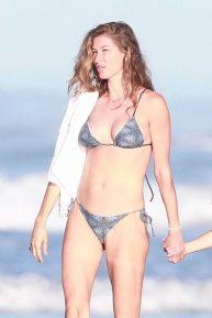 Gisele Bundchen in Patterned Grey Bikini in Costa Rica