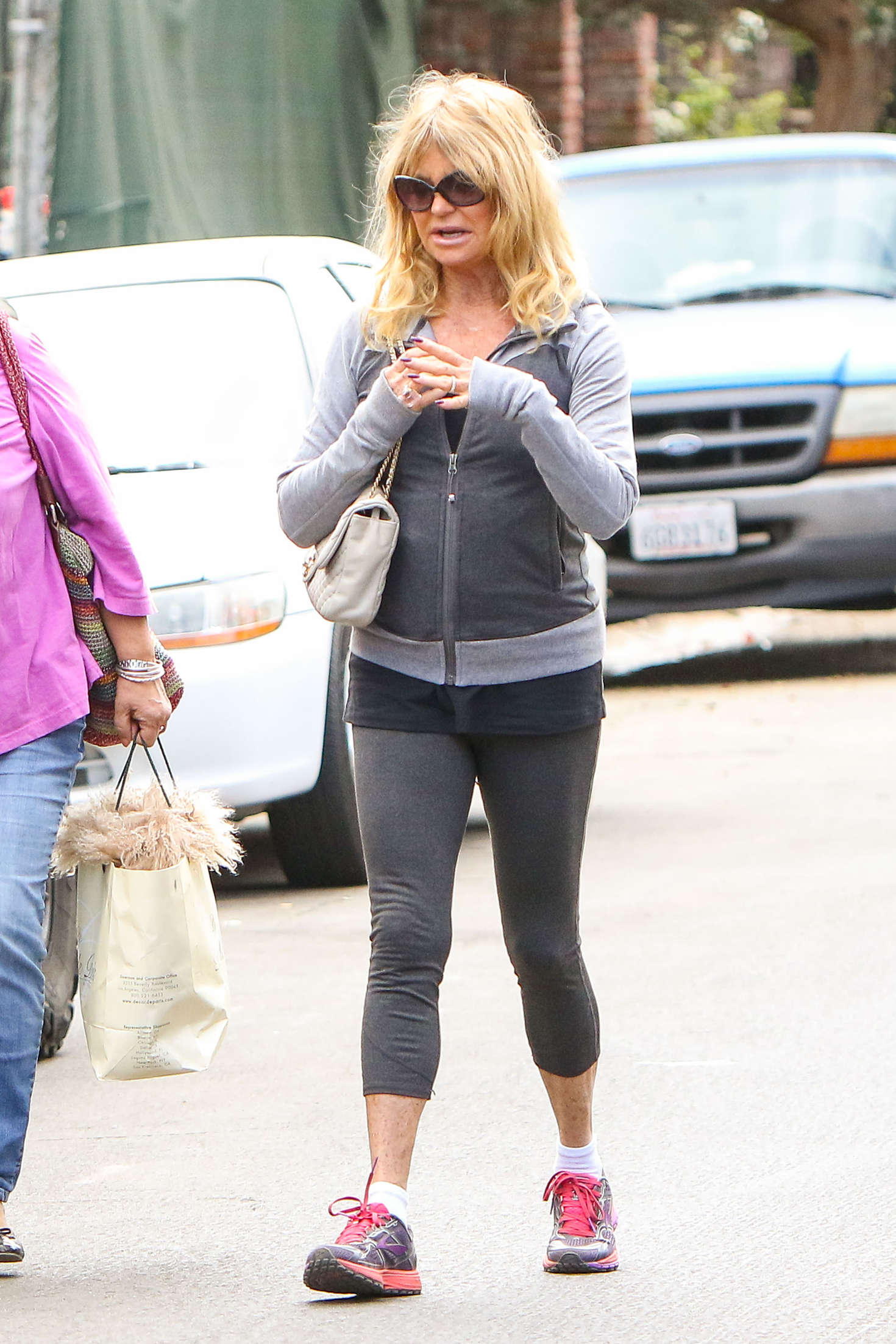 Goldie Hawn in Tights Out for a morning walk in LA
