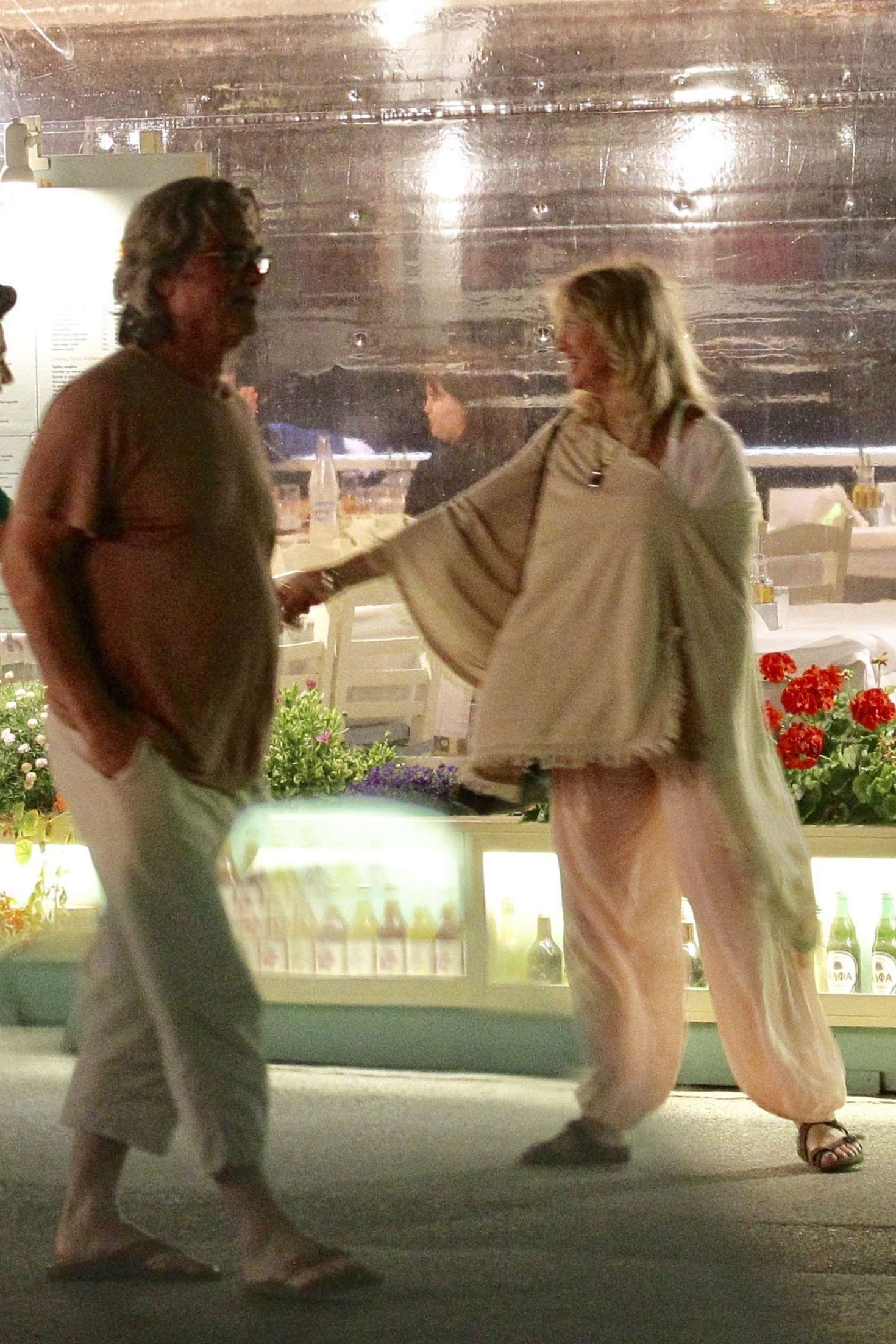 Goldie Hawn with Kurt Russell Out for dinner in Skiathos