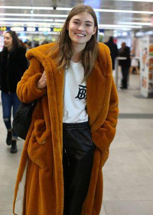 Grace Elizabeth in Fur Coat - Arrives in Milan