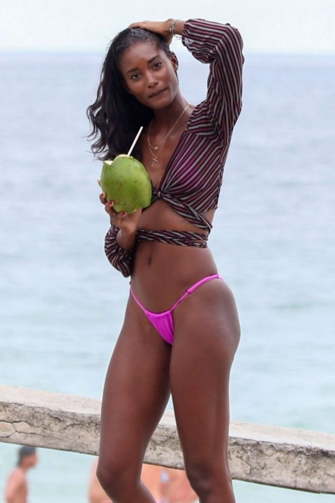 Grace Mahary in Pink Bikini on the beach in Rio de Janeiro