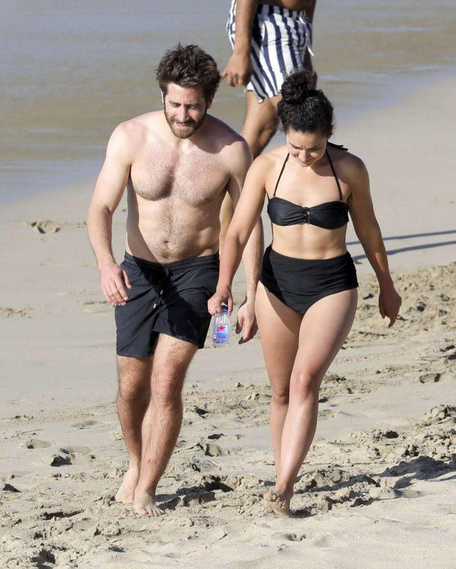 Greta Caruso in Black Bikini on the beach in St. Barts