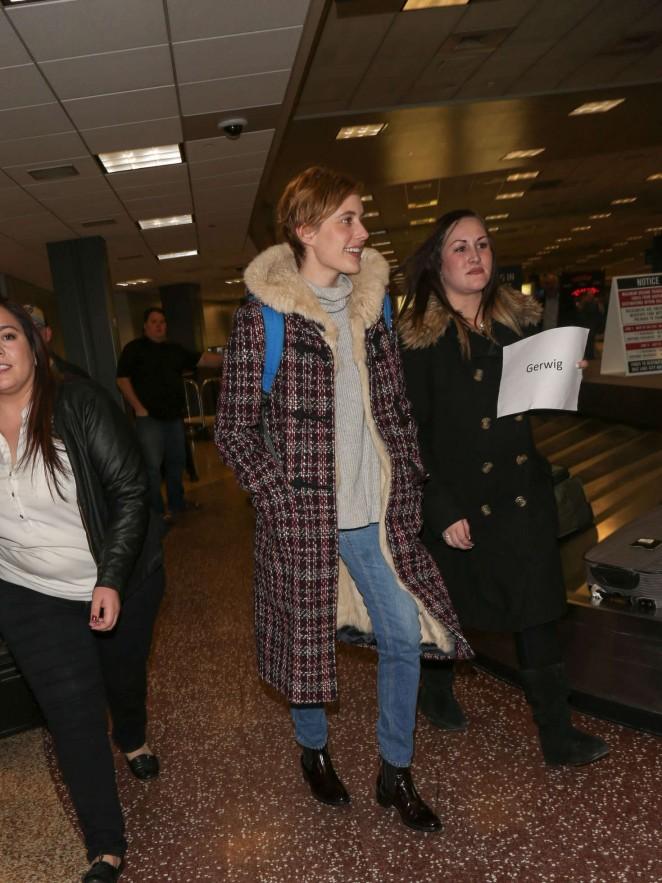Greta Gerwig - Arriving at SLC Airport for Sundance Film Festival