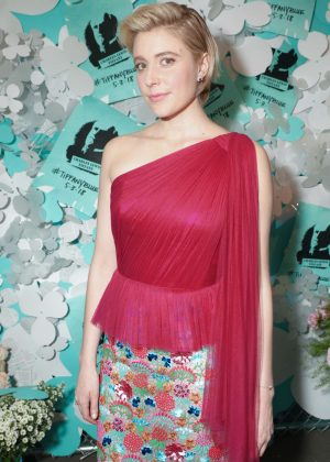 Greta Gerwig - Tiffany Paper Flowers Event in New York City