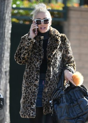 Gwen Stefani in a leopard coat out in Los Angeles