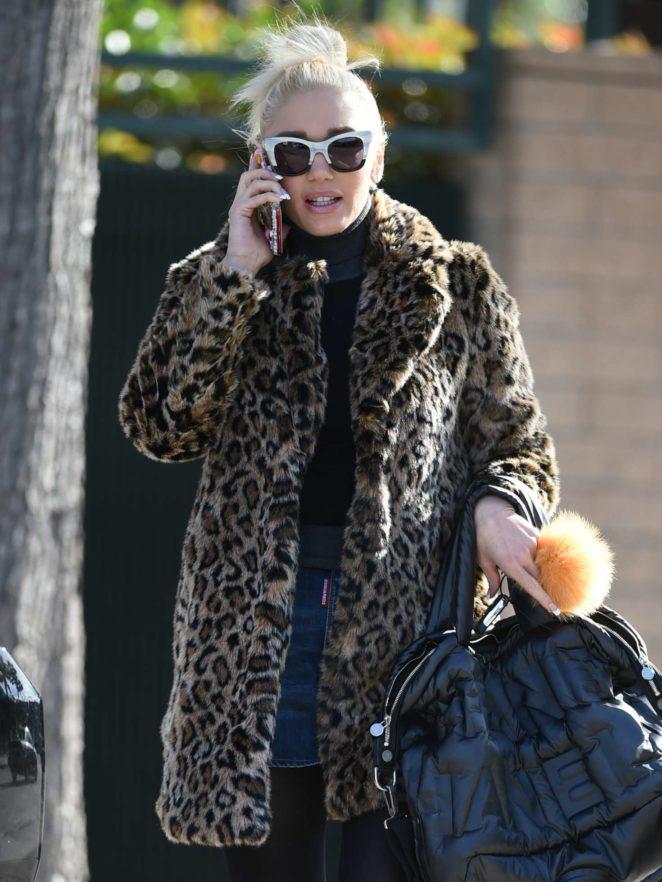 Gwen Stefani in a leopard coat out in Los Angeles