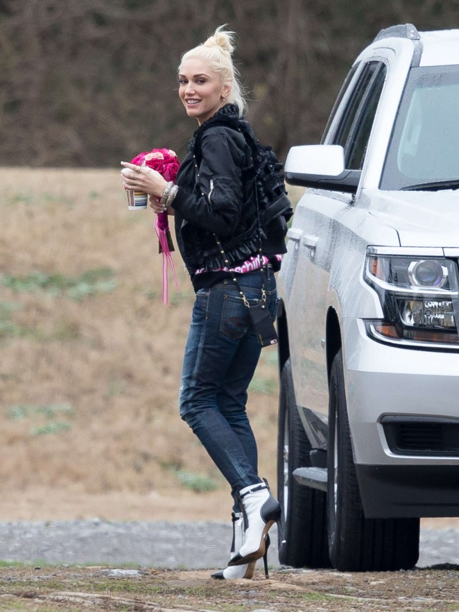 Gwen Stefani in Jeans at Airport in Nashville