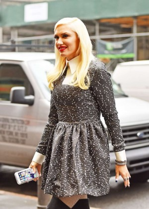 Gwen Stefani in Mini Dress Out in Manhattan