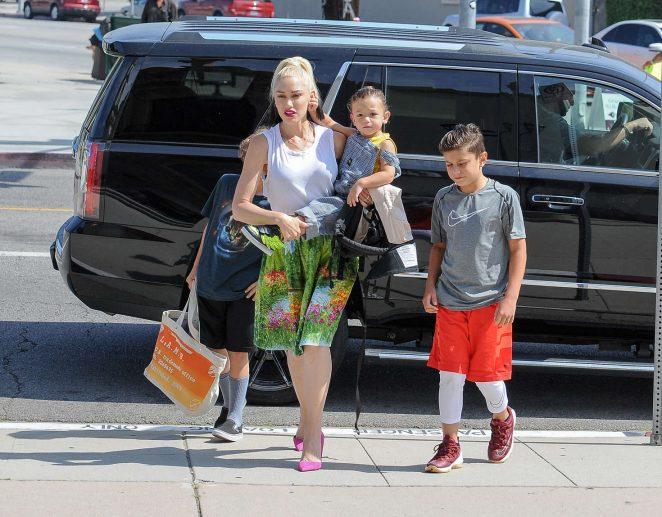 Gwen Stefani with children heading to church -05
