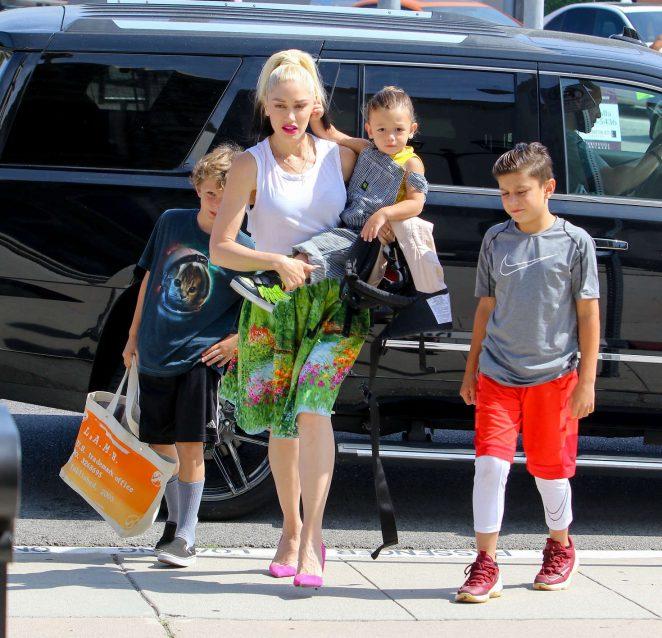 Gwen Stefani with children heading to church -07