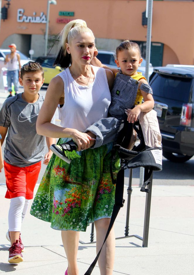 Gwen Stefani with children heading to church -30