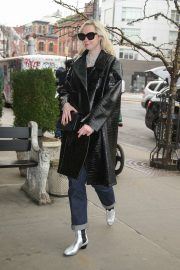 Gwendoline Christie in Leather Coat - Out in NYC