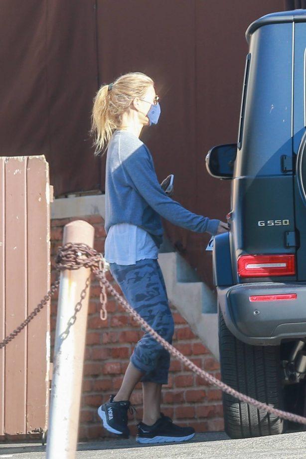 Gwyneth Paltrow and Brad Falchuk leaving the gym in Santa Monica