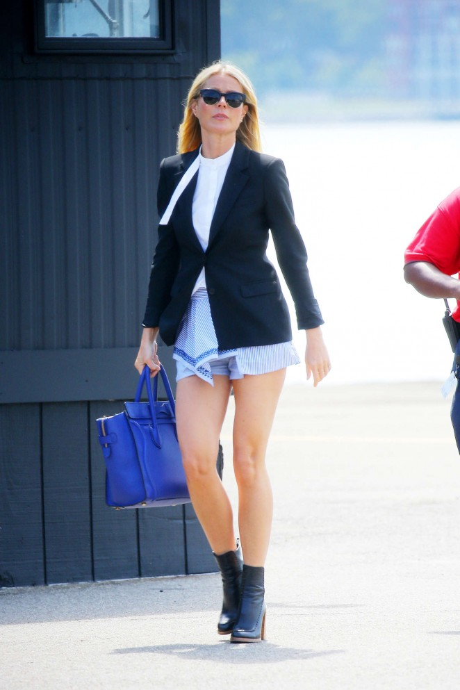 Gwyneth Paltrow in Mini Skirt at Helicopter Pad in NY