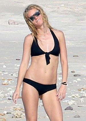 Gwyneth Paltrow in Black Bikini on the beach in Cabo San Lucas