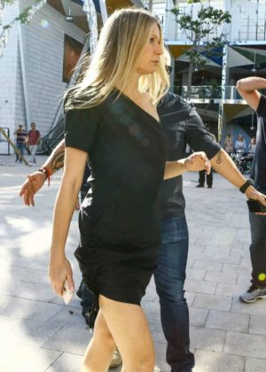 Gwyneth Paltrow in Black Dress - Arriving for her Goop event in Miami