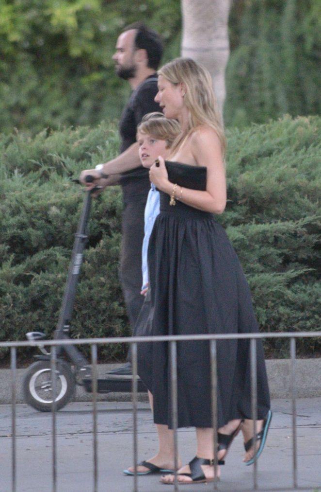Gwyneth Paltrow in Black Long Dress out in Sevilla