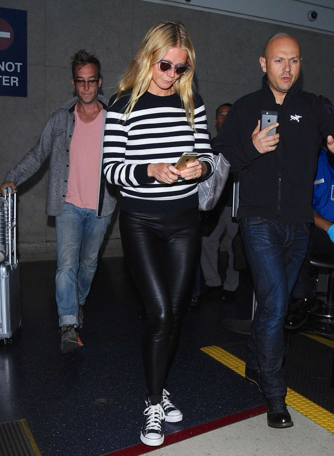 Gwyneth Paltrow in Leather at LAX airport in LA