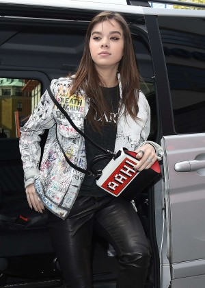 Hailee Steinfeld in Leather at Capital FM in London