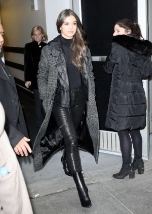 Hailee Steinfeld in Leather Pants - Out in NYC