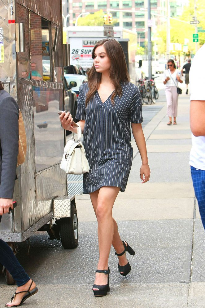Hailee Steinfeld in Mini Dress Out in New York City