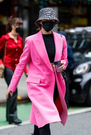 Hailee Steinfeld - In pink coat out in NYC