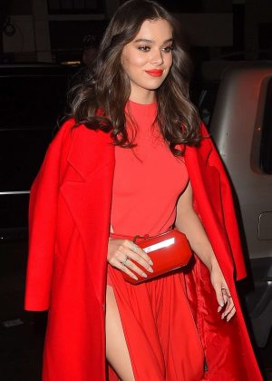 Hailee Steinfeld in Red Dress at Carbone in NY