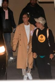 Hailey and Justin Bieber - Arrive for a Wednesday night church services in Beverly Hills