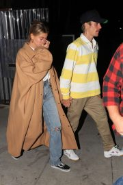 Hailey and Justin Bieber - Leave night church service in Beverly Hills