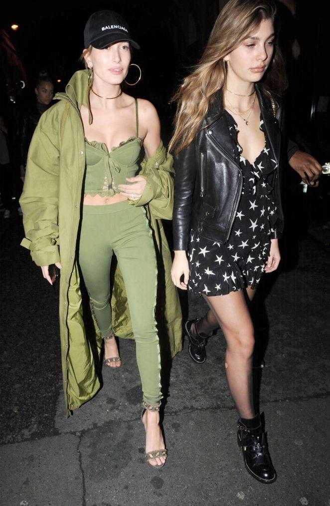 Hailey Baldwin and Cami Morrone - Leaving Pink Pariadie Strip Club in Paris