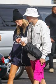 Hailey Baldwin and Justin Bieber - Arrive to the movies at IPIC Movie theater in Westwood