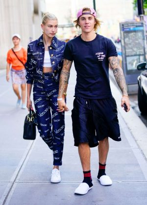 Hailey Baldwin and Justin Bieber - Leaving Nobu restaurant in New York