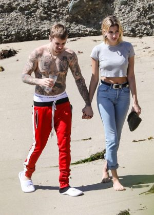 Hailey Baldwin and Justin Bieber on Newport Beach in California