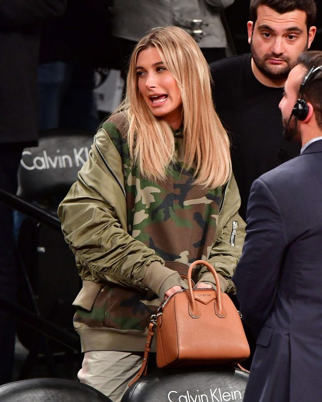 Hailey Baldwin at Brooklyn Nets Basketball Game in NYC