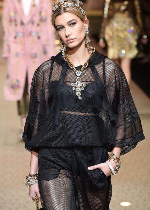 Hailey Baldwin - Dolce and Gabbana Show Runway 2018 in Milan