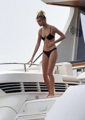 Hailey Baldwin in Black Bikini in Italy adds