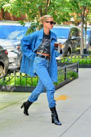 Hailey Baldwin in Denim - Out in New York City