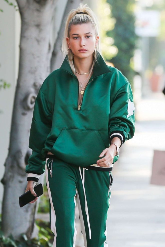 Hailey Baldwin in Green outfit out in Los Angeles