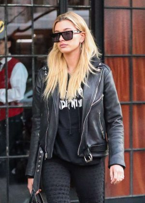 Hailey Baldwin in leather jacket out in New York