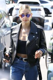 Hailey Baldwin in Leather Jacket - Out in West Hollywood