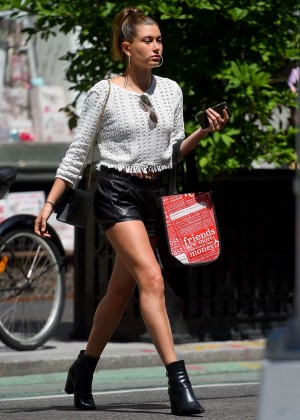 Hailey Baldwin Leggy in Leather Shorts out in NY