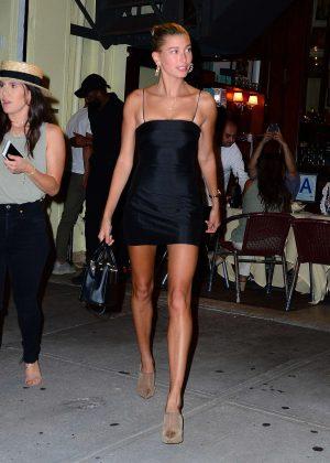 Hailey Baldwin in Little Black Dress - Night out in New York