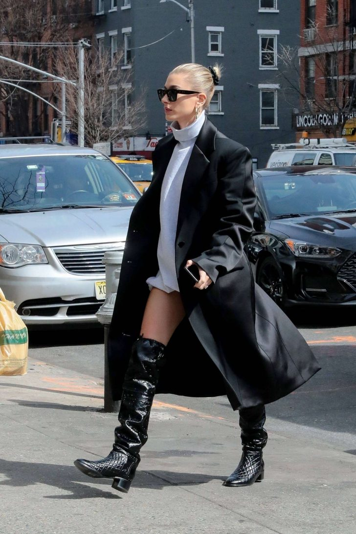 Hailey Baldwin in Long Black Coat -02